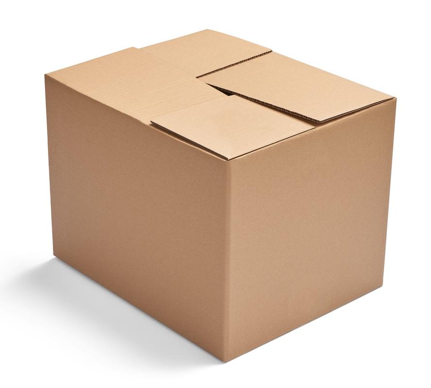Белая четырехклапанная коробка гофрокоробка 200х200х170