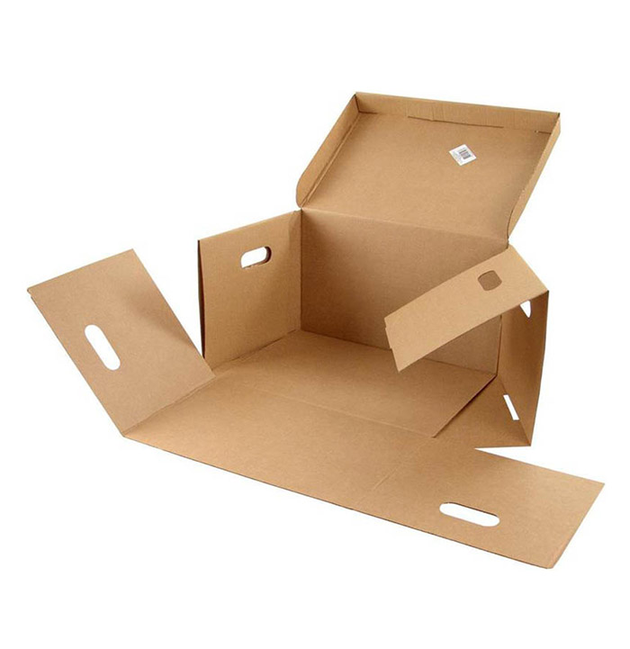 Бурая коробка с крышкой и ушками 330х230х120