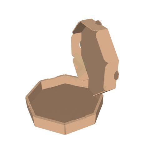 Бурая восьмиугольная коробка для пиццы 210x210x35