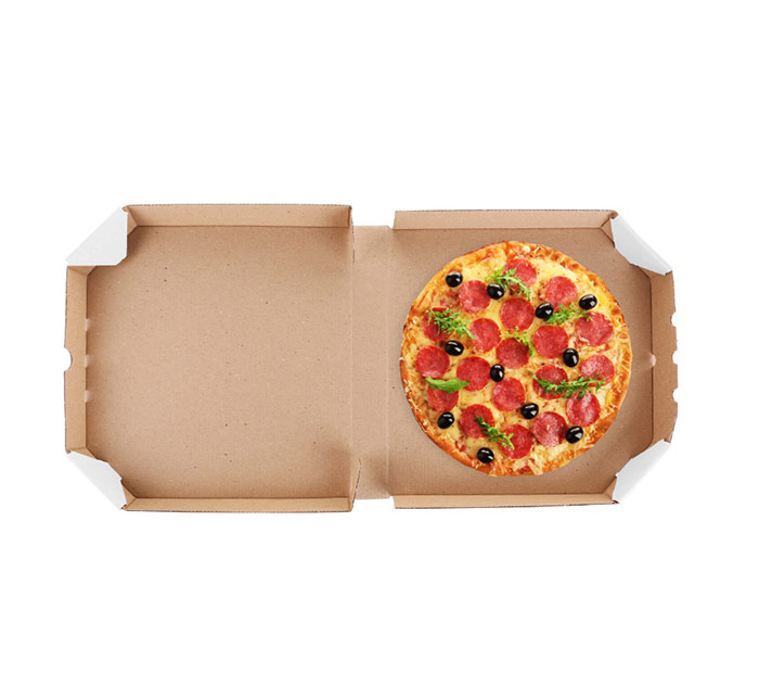 Бурая шестиугольная картонная коробка для пиццы 330x330x40