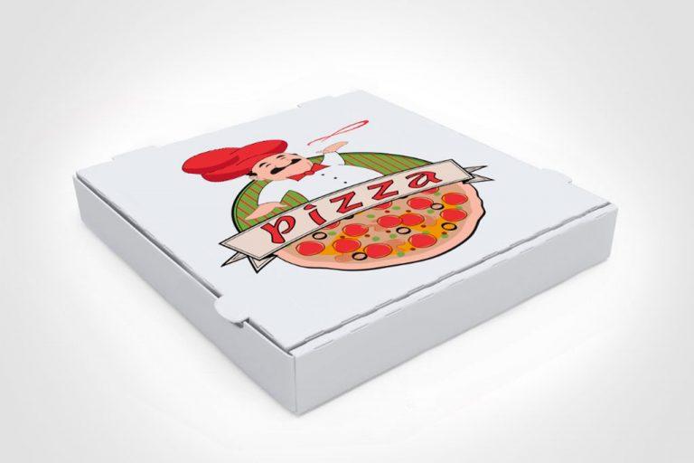 Квадратная картонная коробка для пиццы с хвостиком для открывания