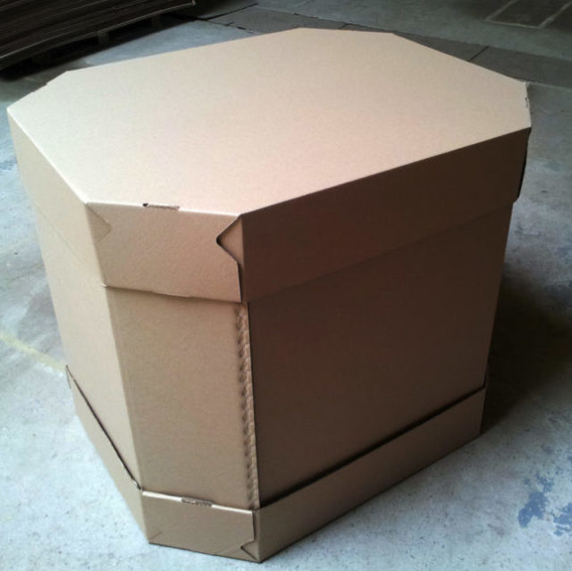 Гофроящик (8-гранный контейнер) 1200x1000x1000, бурый и белый