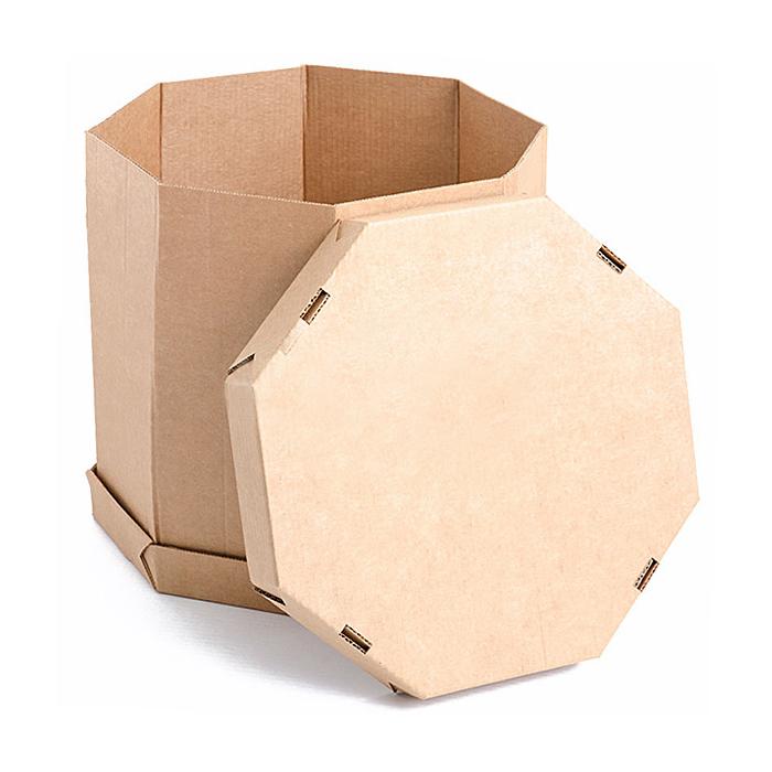 Гофроящик-октабин (8-гранный контейнер) 1200x800x760, бурый и белый